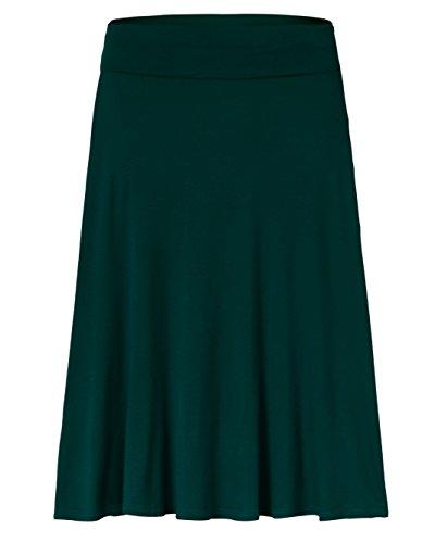 Amie Finery Knee Length Midi Skirt A Line Flared Swing Fold Over Skirt For Women Made In USA Medium Hunter Green (Skirt Knee Length Green)