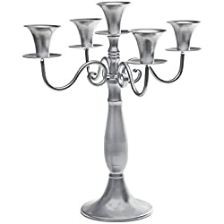 "Studio Silversmiths 14"" 5-light Silver Metal Candelabra Wedding Centerpiece Candle Holder"