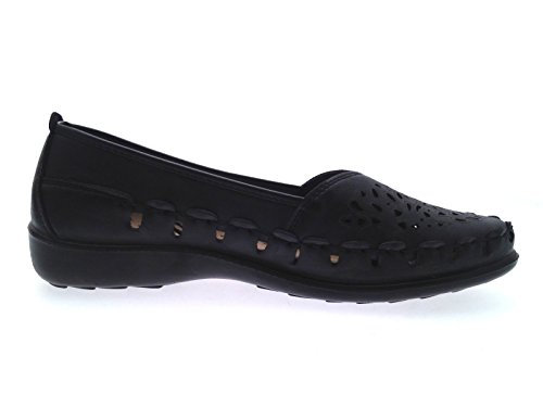 Strong Souls Womens Faux Leather Comfort Loafers Navy S4QYZOTV5