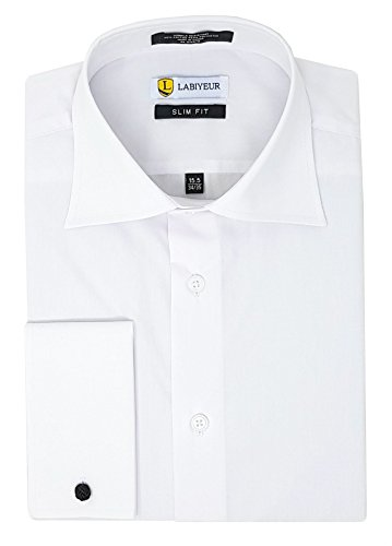 - Labiyeur Men's Slim Fit Spread Collar French Cuffs Solid White Dress Shirt 14.5 | 32-33 White