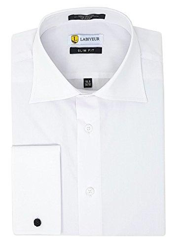 (Labiyeur Men's Slim Fit Spread Collar French Cuffs Solid White Dress Shirt 15.5 | 34-35 White)
