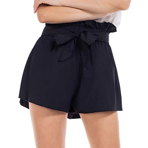Womens Shorts, Brovollous Black Summer Shorts Plus Size Casual Tie Bow Elastic Waist Lounge Shorts