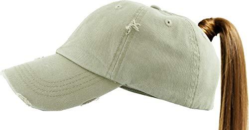 KBETHOS PONY-001 KHK Ponytail Messy High Bun Headwear Adjustable Cotton Trucker Mesh Hat Baseball Cap