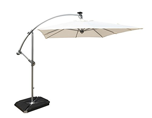 8′ UrbanMod Cantilever Umbrella White UV Resistant Polyester Fabric Aluminum Frame
