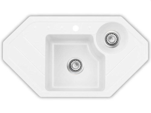 Systemceram Sinus Eck Polar Keramik-Spüle Handbetätigung Weiß Eckspüle Küche