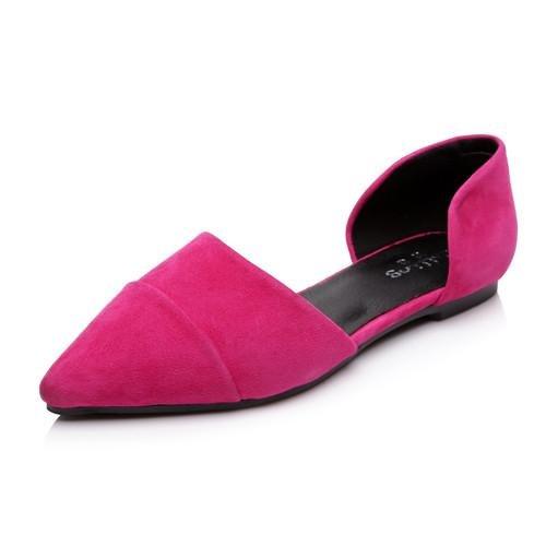 BaiLing Damen Sommer Flache Sandalen/Schaffell Zeigte Flache Sommer Ferse/Mode Damen Kleine Größe Schuhe, Pink, CN33 - d9d9de