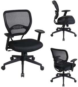Office Star SPACE AirGrid Back Managers Office Chair with Black Mesh Fabric Air Grid Fabric Chair