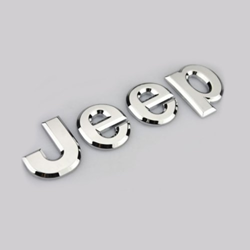 - Aurnoc 2pc Jeep Logo Chrome Badge Decal Emblem Sticker for Cherokee Wrangler 3D Alloy (Chrome Silver)