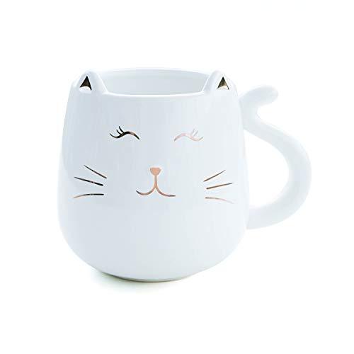 Skafil Ceramic Cat Coffee Mug Cute Novelty Mug Cup Tea Cup 17 oz Anniversary Birthday Gift For Women Men(White)
