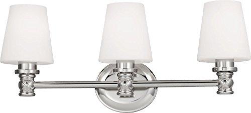 - Feiss VS22103PN Xavierre Glass Wall Sconce Lighting, Chrome, 3-Light (23