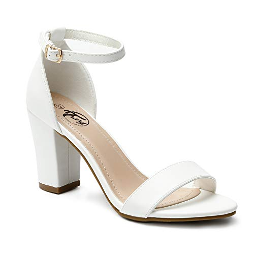 Trary Women's Ankle Strap and Adjustable Buckle Chunky Pump Heel Sandals Pu White 10 ()