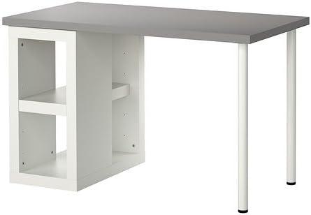 IKEA LINNMON / ULLRIK - Mesa, gris, blanco - 120x60 cm: Amazon.es ...