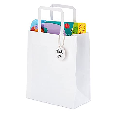 Premium Bulk White Kraft Paper Bags with Handles for Shopping, Gifts, Parties, Retail Merchandise, Wedding, Craft | Set of 50 pcs/pack, Medium Size 8x4.75x10 inches, Includes Thank You Tags and String