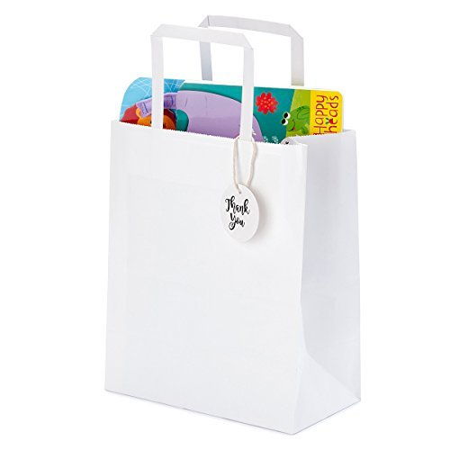 Premium Bulk White Kraft Paper Bags with Handles for Shopping, Gifts, Parties, Retail Merchandise, Wedding, Craft | Set of 50 pcs/pack, Medium Size 8x4.75x10 inches, Includes Thank You Tags and - In Plains Shopping White