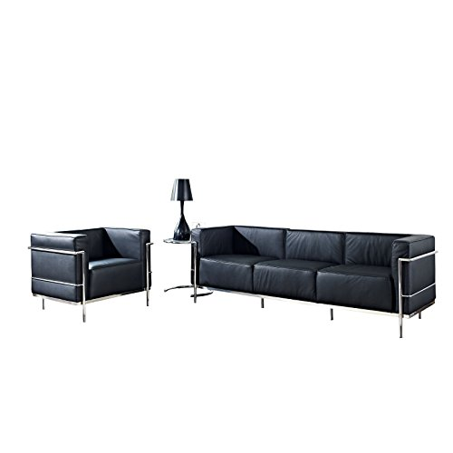Modway Leather Le Corbusier-Style LC3 Armchair and Sofa in Black with Eileen Gray Side - Le Corbusier Leather Sofa