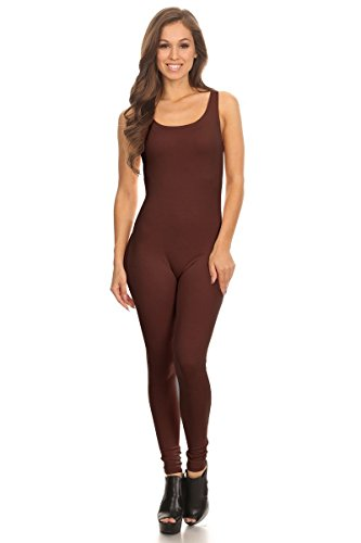 (Women's Scoop Neck Sleeveless Stretch Cotton Jersey Unitard Bodysuits Brown Large)