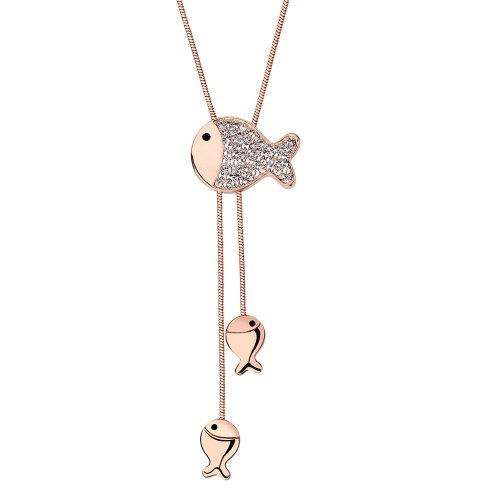Chaomingzhen Fish Pendants Long Necklace Austrian Crystal Gold Plated for Women Fashion Jewelry (Austrian Crystal Fish)