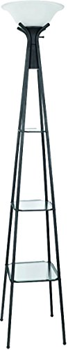 Coaster Home Furnishings Torchiere Floor Lamp with Glass Shelving Charcoal Black