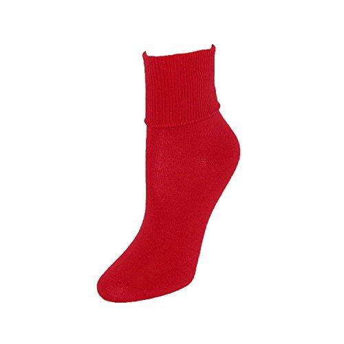 Jefferies Socks Women's Organic Cotton Turn Cuff Socks, (Red Ankle Cuff)