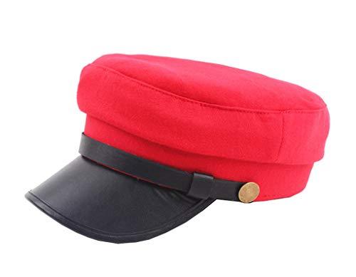 Women Classic Yacht Captain Sailor Hat Newsboy Cabbie Beret Cap (Red) -