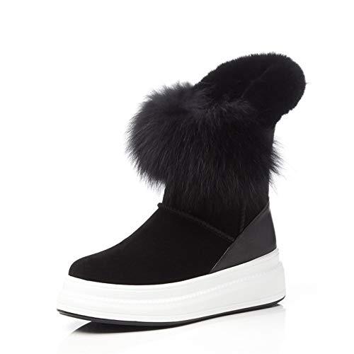 JUWOJIA La Mode Bout des Bottes Imperméables Chaudes Bout Mode Rond Wedges Plush Fourrure d'hiver Chaussures Casual Chaussures Suede 35|Black 148a82