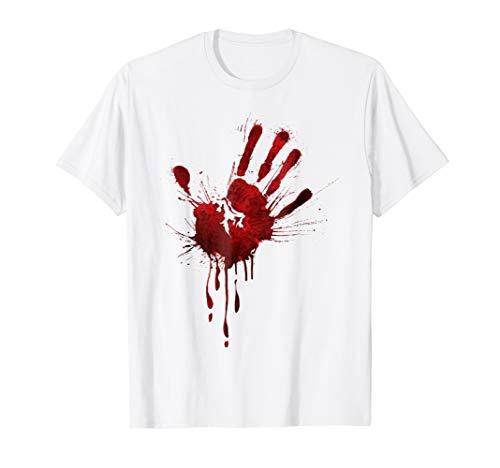 (Bloody Hand Print Halloween T-Shirt)