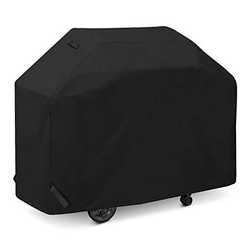 SunPatio Gas Grill Cover 60 Inch, Outdoor Heavy Duty Waterproof Barbecue Grill Cover, UV and Fade Resistant, All Weather Protection for Weber Charbroil Brinkmann Grills and More, Black