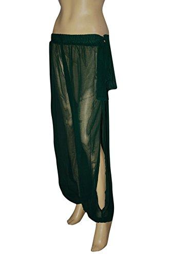 Genie Costume Dark Green Sheer Chiffon Harem/Yoga Pants with Side Slit (Green Genie Costume)