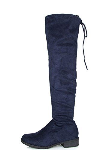 Heel Navy Up Forever Lace Tie High Drawstring Knee Boots Womens Link Over Thick Chunky wq8HPw