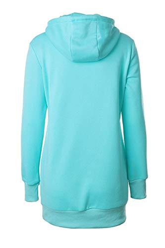 Maniche Stile Size Casual Felpe Donna color Hoody Con Inverno Pink Schwarz Qinch Cappuccio Xxl Pullover Felpa xf8qwwzO