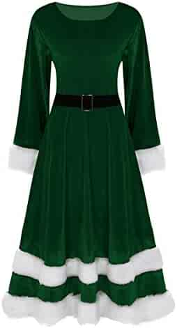 ab7de9a612f0 dPois Womens Soft Velvet Mrs. Santa Claus Costume Dress Fancy Christmas Xmas  Cosplay Outfits Set