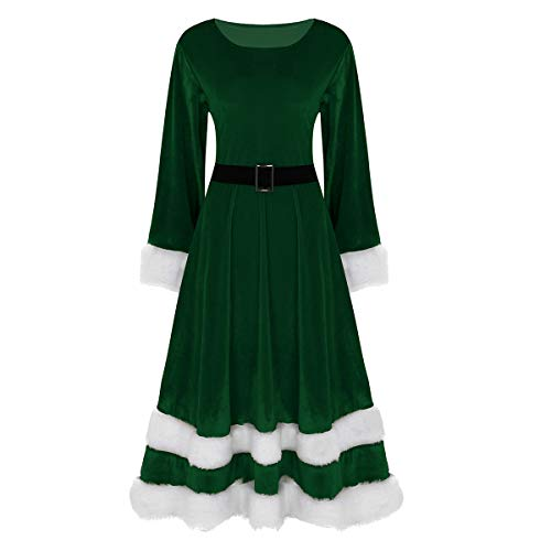 FEESHOW Women's Ladies Mrs Santa Claus Costume Adults Christmas Fancy Dress Outfit Green Medium