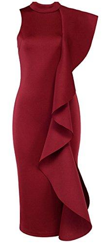 Donne Clubwear Jaycargogo Balze Patchwork Da Vino Partito Moda Abiti Bodycon Rosso Vestidos ZZwxgrRnq