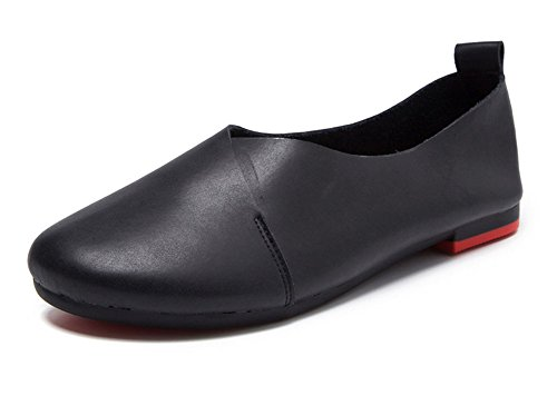 Leather Shoes Womens (Kunsto Women's Genuine Leather Comfort Glove Shoes Ballet Flat US Size 9.5 Black)