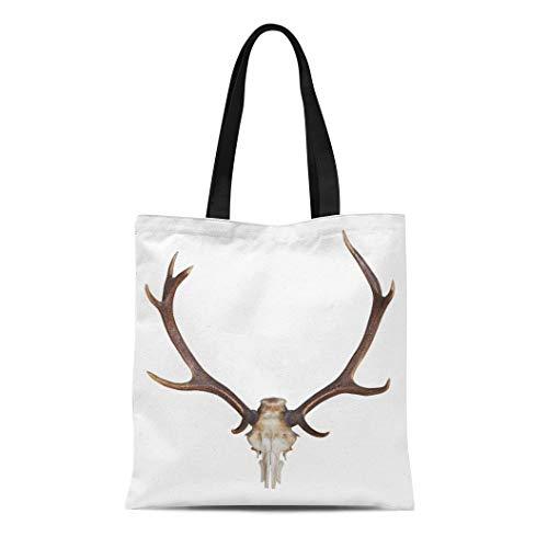 Semtomn Canvas Tote Bag Shoulder Bags Skull Deer Antlers of Huge Stag White Horn Animal Women's Handle Shoulder Tote Shopper Handbag ()