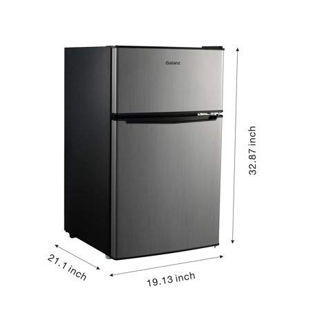 Galanz 3.1cu ft Compact Refrigerator Double Door | Cans Dispenser (Stainless Refrigerator)