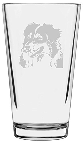 Australian Shepherd  Etched Pint Glass