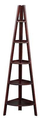 Casual Home 5 Shelf Corner Ladder Bookcase Espresso 176-33U New - Medium Walnut Oak Bookcase