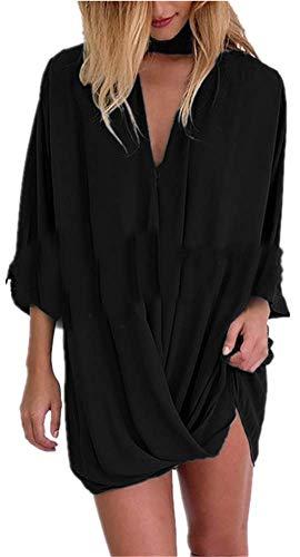 Deep Casual Tops Chemisier Unie Chemisier YOGLY V Pliss Manches Noir Long Chic Couleur Sexy Mode Femme Blouse Longues Col 8wqfTO