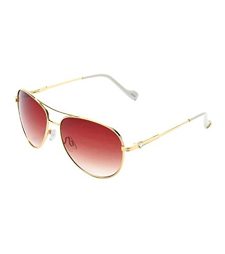 Jessica Simpson Metal Gold/ Brown Aviator J5395-WHGD Womans - Sunglasses Aviator Simpson Jessica