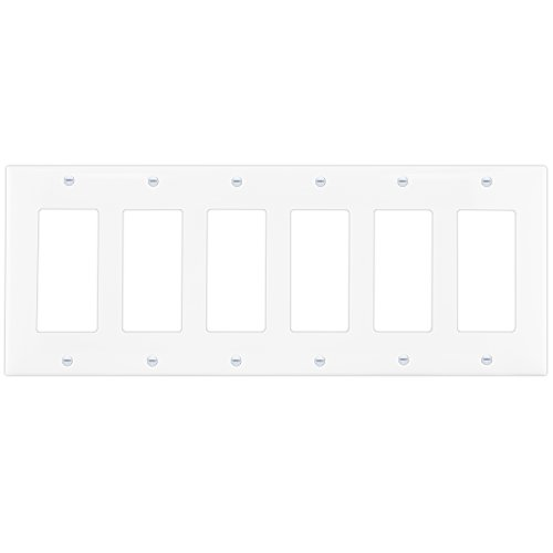 Enerlites 8836-W Decorator Light Switch GFCI Rocker Wall plate, Standard Size 6-Gang, White, Made of Unbreakable Poly-carbonate Plastic