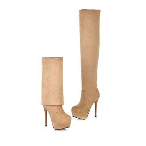 - Hoxekle Black Suede Over The Knee Boots Platform High Heel Boots for Women Winter Stiletto Heels Thigh High Boots