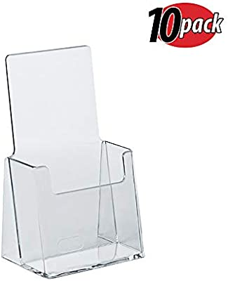 Azar 252012 Clear Acrylic Trifold Literature Brochure Holder For Counter |  Perfect For Pamphlets | Brochures | Menus | Promotions | Literature | Made