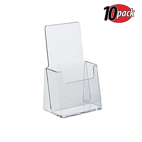 Acrylic Brochure Rack - Azar 252012 Clear Acrylic Trifold Literature Brochure Holder For Counter | Perfect For Pamphlets | Brochures | Menus | Promotions | Literature | Made In USA (Pack of 10)