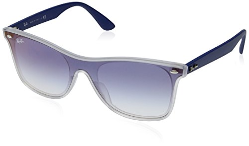 Ray-Ban RB4440NF Blaze Wayfarer Sunglasses, Matte Transparent/Blue Gradient Mirror, 44 ()