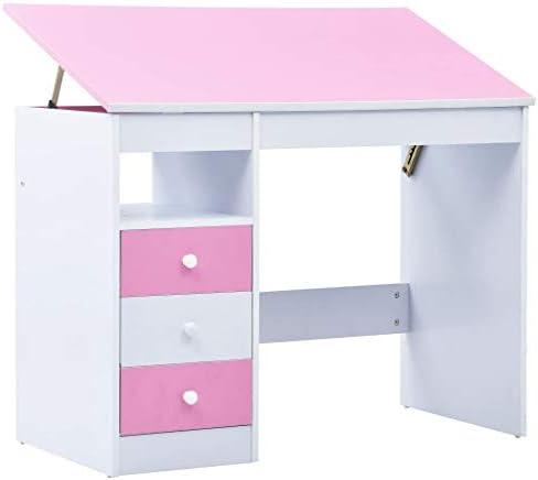vidaXL Kindertekentafelbureau kantelbaar roze en wit