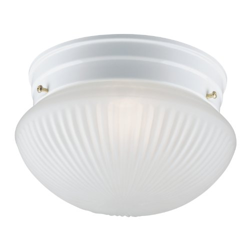Westinghouse 6467100 One-Light Flush-Mount Interior Ceiling Fixture, White Finish with Frosted Ribbed Glass