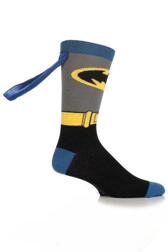 [SockShop Boys' 1 Pair Batman Cape Socks 5.5-7.5 Multicolored] (Batman Dress Socks)