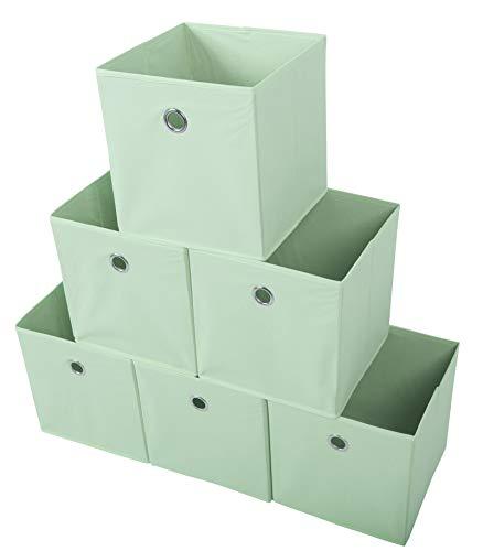 Amelitory Storage Bins Foldable Cube Organizer Fabric Drawer Set of 6 Light ()