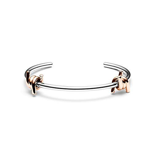 MVMT Women's Double Barbed Cuff Bracelet | Open Closure, Stainless Steel | Silver/Rose Gold